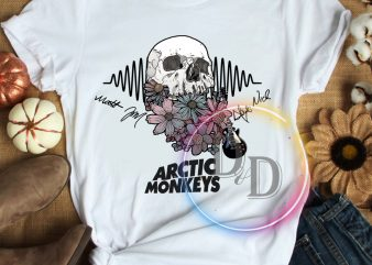 Skull arctic monkeys flower T shirt