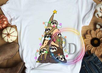 Slothmas Sloth Pine tree Merry Christmas T shirt