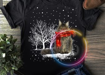 Merry Christmas Winter white Cat T shirt