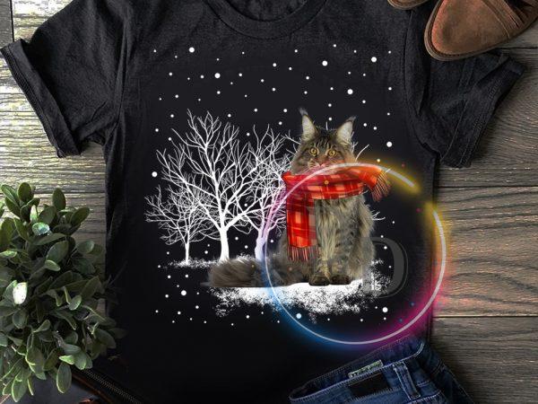 Merry Christmas Winter white Cat T shirt