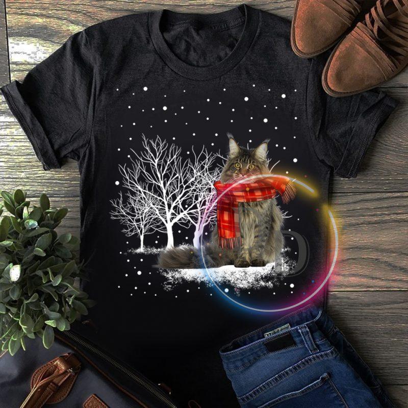 Merry Christmas Winter white Cat T shirt t shirt design graphic