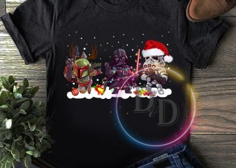 Star war Merry Christmas chibi T shirt design
