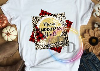 Merry Christmas Y'all Leopard Fabric T shirt
