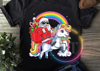 Santa claus ride Unicorn rainbown merry christmas t shirt