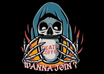 Death Coffee t shirt vector illustration