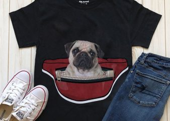 Dog in Waist Pack – 20 Popular Dog Breeds t shirt design for download