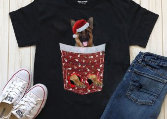 Dog In Christmas Pocket – 20 Popular Dog Breeds t-shirt design for sale