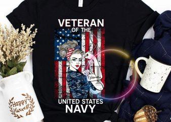 Woman Veteran of the United States Navy Ameryca FLag T shirt