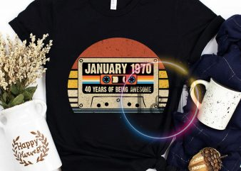 January 1970 40 years of being awesome vintage T shirt birthday