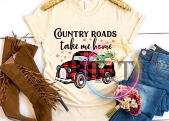 Country roads take me home red Car T shirt merry chrsitmas