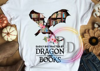 Dragon and books easily distracted T shirt