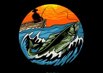 Sunset Fishing t shirt template vector