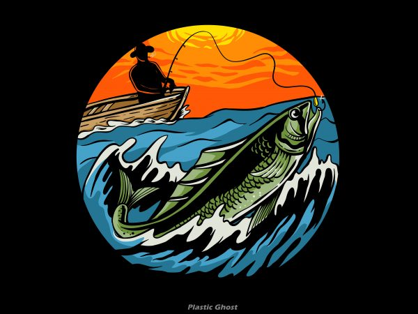 Sunset Fishing vector t shirt design for download