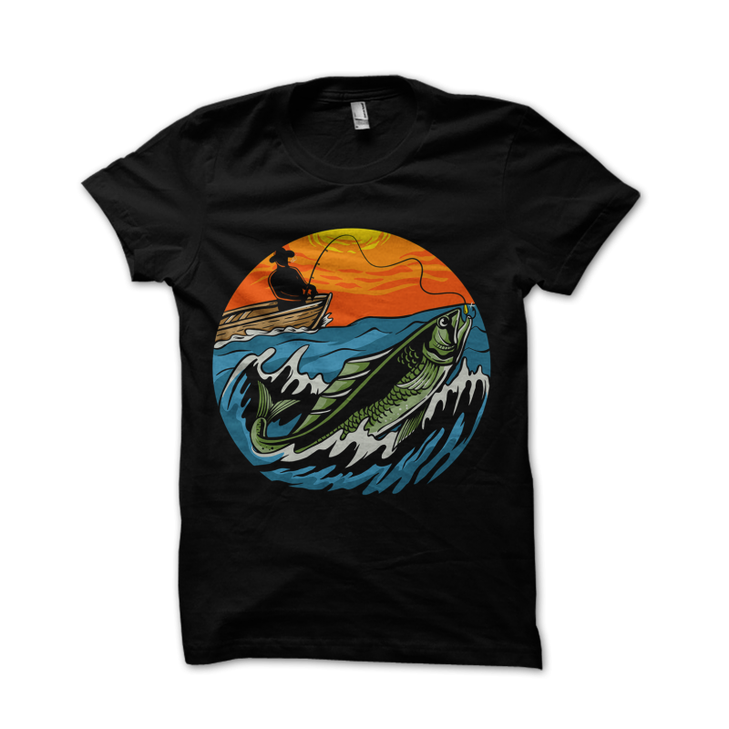 Sunset Fishing vector t shirt design