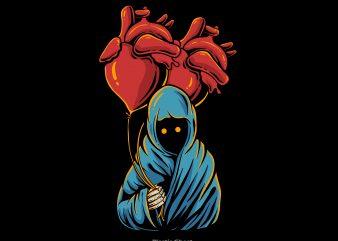 Heart balloon graphic t shirt