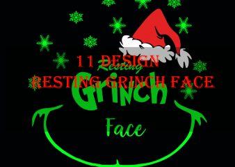BIG SALES 11 design resting grinch face,Resting Grinch Face svg