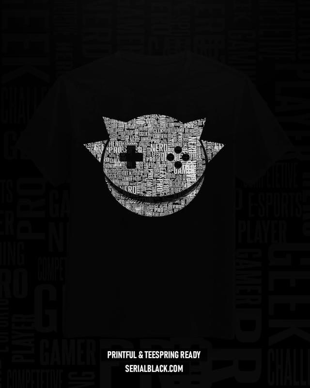 Gamer Calligram T-Shirt Design tshirt design for merch by amazon