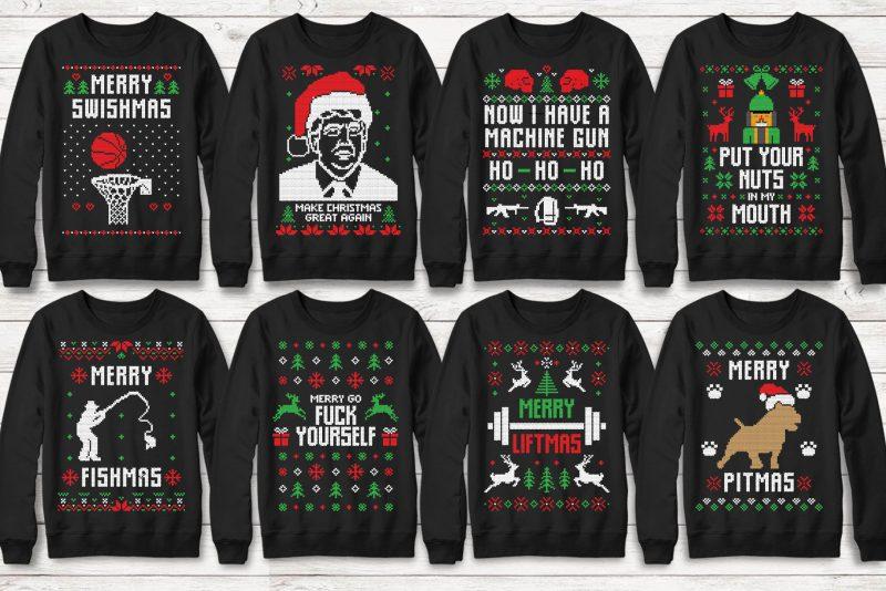113 Ugly Christmas Templates Designs vector shirt designs