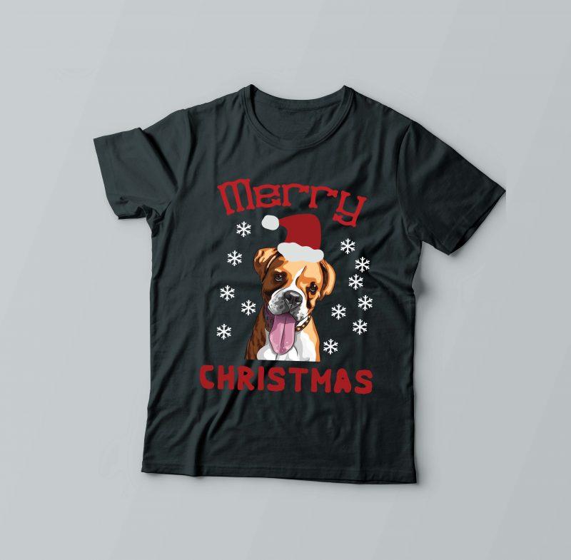 Merry Dog Christmas t shirt designs for merch teespring and printful