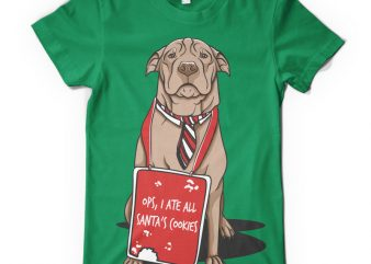 Ops, I ate all Santa's cookies graphic t-shirt design