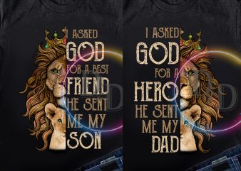 Bundles couple Dad and Son – I asked God for a best friends and Hero T shirt Father day