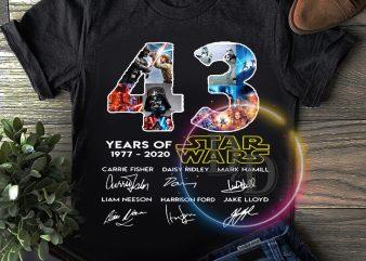 Star wars 43 years of 1977-2020 Anniversary T shirt