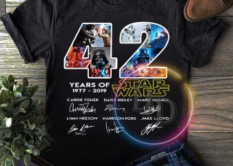 Star wars 42 years of 1977-2019 Anniversary T shirt