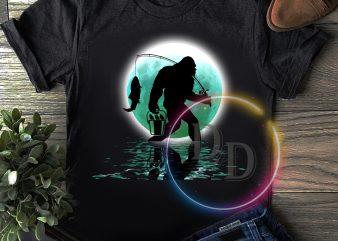 Bigfoot fishing walking in the moon T shirt