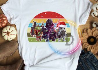 Star war Merry Christmas chibi T shirt vintage design