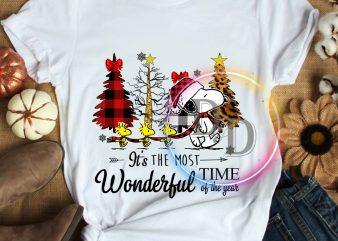 Snoopy dog Walking Pine forest christmas – It's the most wonderful time of the year T shirt