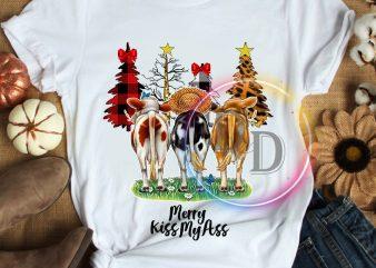 Merry Kiss my ass Cows Christmas Funny T shirt