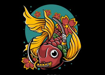 Japanese Goldfish vector t shirt design for download