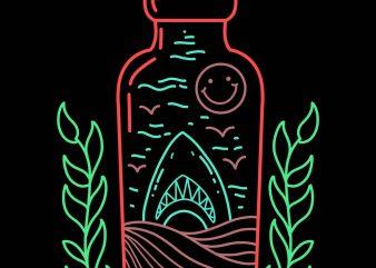 shark in the bottle tshirt design