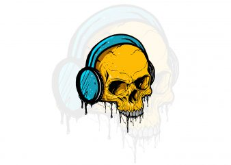 skull music t-shirt design