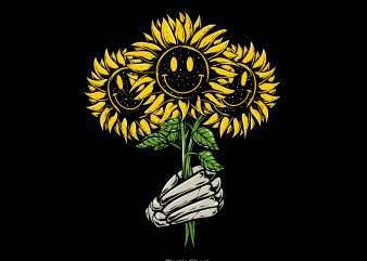 Smiley Sunflower vector shirt design