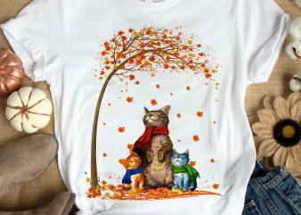 THREE CAT AUTUMN t shirt design to buy