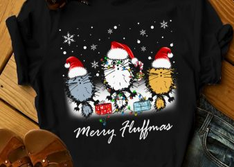 THREE CATS MERRY FLUFFMAS t shirt design for download