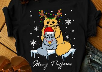 TWO CATS MERRY FLUFFMAS graphic t-shirt design