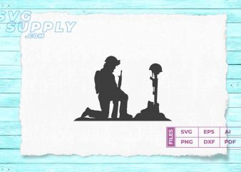 Soldier Praying silhouette SVG vector and PNG files vector t-shirt design template