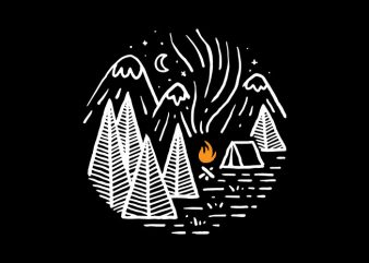 Camping and Bonfire tshirt design for sale