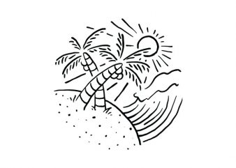 Beach and Wave vector t-shirt design for commercial use