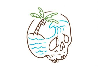Skull Summer Mind t shirt template vector