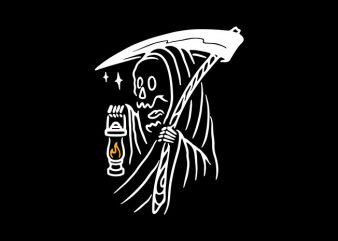 Grim Reaper and Lighting t shirt design template