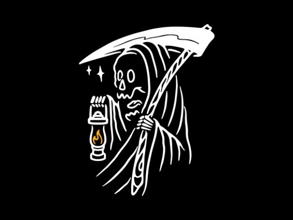 Grim Reaper and Lighting vector t-shirt design template