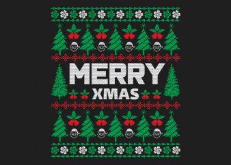 100% Pattern Merry Xmas Sweater Design
