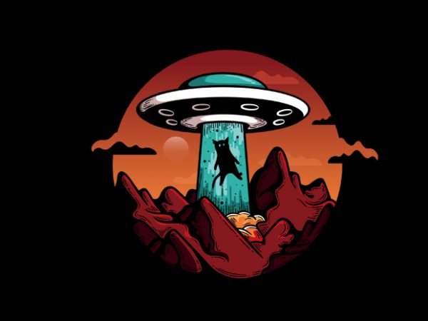 UFO Cat t shirt vector graphic