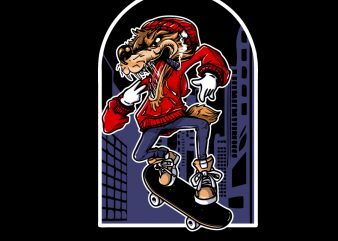 Wolf Skateboard cartoon t shirt design for sale