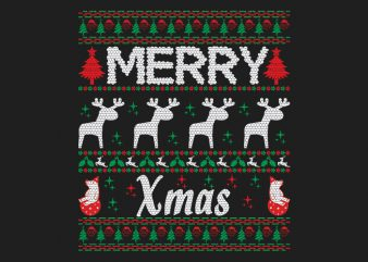100% Pattern Ugly Merry Xmas Sweater Design.
