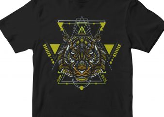 TIGER HEAD GEOMETRIC t shirt designs for sale