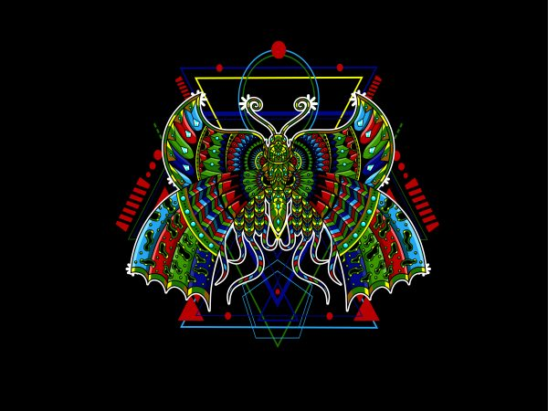 Butterfly geometric t shirt template